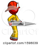 Red Firefighter Fireman Man Walking With Large Thermometer