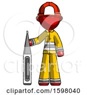 Red Firefighter Fireman Man Standing With Large Thermometer