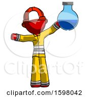 Red Firefighter Fireman Man Holding Large Round Flask Or Beaker