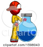 Red Firefighter Fireman Man Standing Beside Large Round Flask Or Beaker