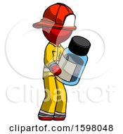 Red Firefighter Fireman Man Holding Glass Medicine Bottle