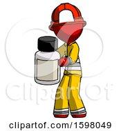 Red Firefighter Fireman Man Holding White Medicine Bottle