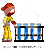 Red Firefighter Fireman Man Using Test Tubes Or Vials On Rack