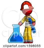 Red Firefighter Fireman Man Holding Test Tube Beside Beaker Or Flask