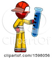 Red Firefighter Fireman Man Holding Large Test Tube