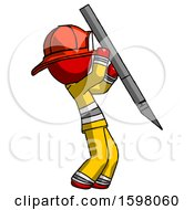 Red Firefighter Fireman Man Stabbing Or Cutting With Scalpel