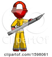 Red Firefighter Fireman Man Holding Large Scalpel