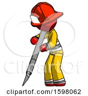 Red Firefighter Fireman Man Cutting With Large Scalpel