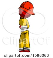 Red Firefighter Fireman Man Thinking Wondering Or Pondering Rear View
