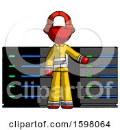 Red Firefighter Fireman Man With Server Racks In Front Of Two Networked Systems