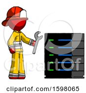 Red Firefighter Fireman Man Server Administrator Doing Repairs