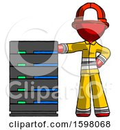 Poster, Art Print Of Red Firefighter Fireman Man With Server Rack Leaning Confidently Against It