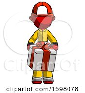 Red Firefighter Fireman Man Gifting Present With Large Bow Front View