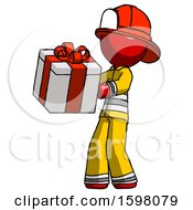 Red Firefighter Fireman Man Presenting A Present With Large Red Bow On It