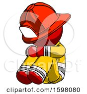 Red Firefighter Fireman Man Sitting With Head Down Facing Angle Left