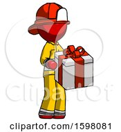 Red Firefighter Fireman Man Giving A Present