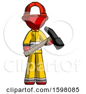 Red Firefighter Fireman Man Holding Hammer Ready To Work
