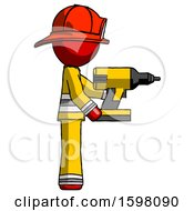 Red Firefighter Fireman Man Using Drill Drilling Something On Right Side