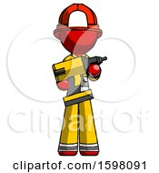 Red Firefighter Fireman Man Holding Large Drill