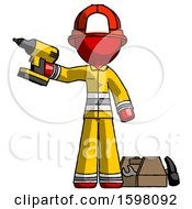 Red Firefighter Fireman Man Holding Drill Ready To Work Toolchest And Tools To Right