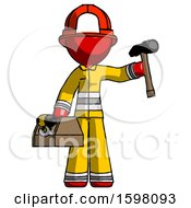 Red Firefighter Fireman Man Holding Tools And Toolchest Ready To Work