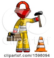 Red Firefighter Fireman Man Under Construction Concept Traffic Cone And Tools