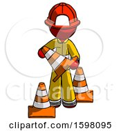 Red Firefighter Fireman Man Holding A Traffic Cone