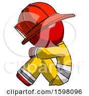 Red Firefighter Fireman Man Sitting With Head Down Facing Sideways Left