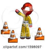 Red Firefighter Fireman Man Standing By Traffic Cones Waving