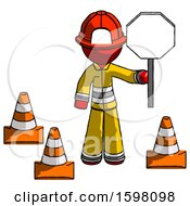 Poster, Art Print Of Red Firefighter Fireman Man Holding Stop Sign By Traffic Cones Under Construction Concept