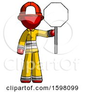 Red Firefighter Fireman Man Holding Stop Sign