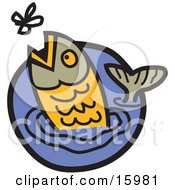 Trout Jumping Out Of Water To Catch A Fly Clipart Illustration