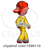Poster, Art Print Of Red Firefighter Fireman Man Walking Away Direction Right View
