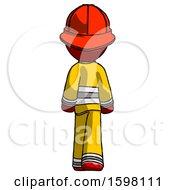 Red Firefighter Fireman Man Walking Away Back View