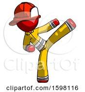 Red Firefighter Fireman Man Ninja Kick Right