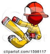 Red Firefighter Fireman Man Flying Ninja Kick Left