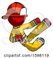 Red Firefighter Fireman Man Flying Ninja Kick Right