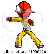 Red Firefighter Fireman Man Martial Arts Punch Left