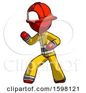 Red Firefighter Fireman Man Martial Arts Defense Pose Left