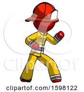Red Firefighter Fireman Man Martial Arts Defense Pose Right