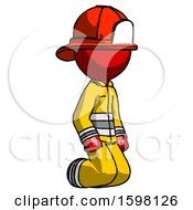 Red Firefighter Fireman Man Kneeling Angle View Right