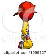 Red Firefighter Fireman Man Kneeling Right