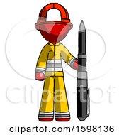 Red Firefighter Fireman Man Holding Large Pen