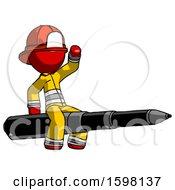 Red Firefighter Fireman Man Riding A Pen Like A Giant Rocket