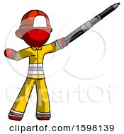 Red Firefighter Fireman Man Demonstrating That Indeed The Pen Is Mightier