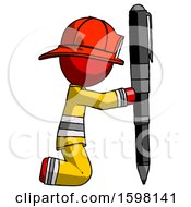 Red Firefighter Fireman Man Posing With Giant Pen In Powerful Yet Awkward Manner