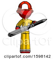 Red Firefighter Fireman Man Posing Confidently With Giant Pen