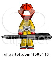Red Firefighter Fireman Man Weightlifting A Giant Pen