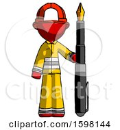 Poster, Art Print Of Red Firefighter Fireman Man Holding Giant Calligraphy Pen