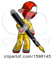 Poster, Art Print Of Red Firefighter Fireman Man Drawing Or Writing With Large Calligraphy Pen